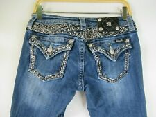 F2207  Women's MISS ME Embroidered Rhinestones Pocket Boot Denim Jeans Size 28