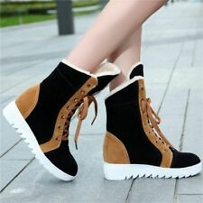 Korean Hidden Wedge Lace Up Fur Lined Womens Winter Snow Ankle Boots Shoes e026