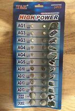 24 X T&E cell Assorted Batteries AG1,AG3,AG4,AG5,AG10,AG12,AG13,CR2016,2025,2032