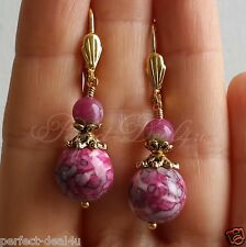 Pink White beads& Multi-color Agate Gold Plated Leverback Round Pretty Earrings