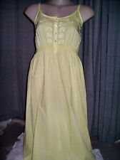 Buttercup Yellow button front embroidered details beach holiday sun DRESS 16 NEW