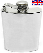 Hand Made Sheffield Pewter Hip Flask, 6oz Kidney Captive Top with Free Engraving