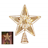 Christmas Tree Topper, 15 LED Lighted Star Tree Topper Gold Christmas Tree Star