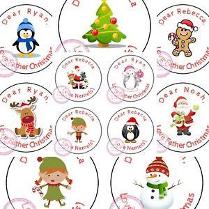 Personalised Christmas Sticker Father Xmas Santa Reindeer Sweet Cone Gift Hamper