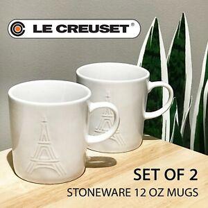 SET OF 2 - New Le Creuset Stoneware Mugs 12 oz, 350 ml Shiny White Eiffel Towel