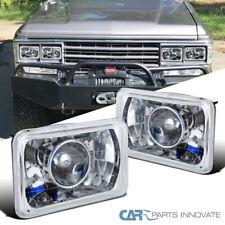 4X6 Chrome Diamond Cut Projector Headlights Conversion Kit w/ H4 Bulbs