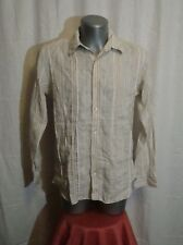 Men's TED BAKER LONDON l/sleeved striped button front linen shirt sz 4 great con