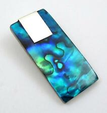 """Handmade 1.6"""" Blue Paua Abalone Shell 925 Sterling Silver pendant: SA058"""