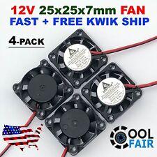 4 pcs 25mm 12V Cooling Fan 2507 25x25x7mm DC Mini Cooler Fan 2-Pin