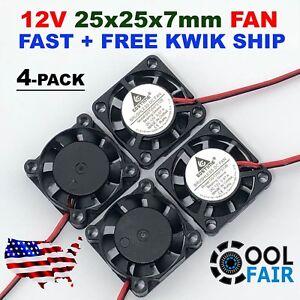 25mm 12V 25x25x7mm 2507 Cooling Fan DC Brushless Cooler 9-Blade 2-Pin 4 Pcs