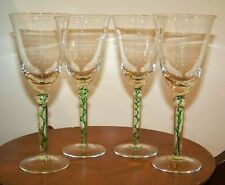 Set 4 Wine Glasses w/ Green Candy Ribbon Design Stem