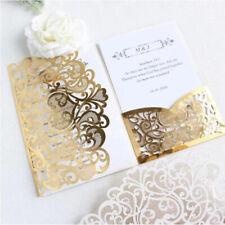 10/50 Tri fold Hollow Laser cut Pocket Wedding Invite Invitation Card Cover Set