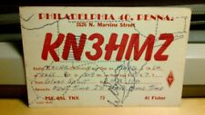 amateur ham radio QSL postcard K3HMZ Al Fisher 1960 Philadelphia Pennsylvania