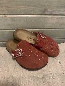 Birkenstock Betula Rocko Red Suede Studded Leather Mule Clogs Women L9 / M7 40