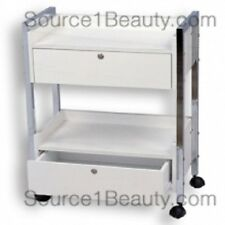 Rolling Wooden Beauty Cart with 2 Locking Drawers for Spa Salon Treatments