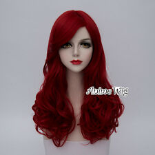 55CM Lolita Heat Resistant Hair Red Curly Synthetic Halloween Cosplay Wig+Cap