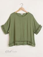 Umgee | Olive Linen Blend Round Neck Short Sleeve Frayed Hem Top | NWT S, M, L