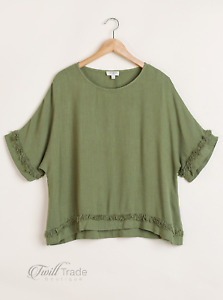 Umgee | Olive Linen Blend Round Neck Short Sleeve Frayed Hem Top | NWT S, M, L