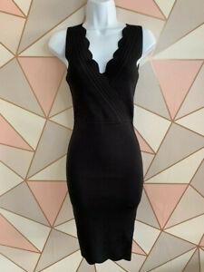 Lipsy Black Wrap Scallop Edge Dress, Stretchy Fitted Bodycon,BNWT