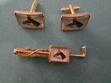 Vintage ANSON Intaglio Equestrian Carved Glass Cufflinks & Tie Bar Clip Horse