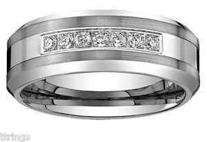 Men's Tungsten Carbide Diamond wedding band Ring 8mm plus 2 year Warranty 0.25CT