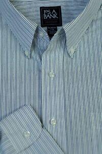 Jos A Bank Men's Travelers Gray White Stripe Cotton Dress Shirt 17 x 34