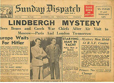 Europe Waits for Hitler Lindbergh Mystery Sunday Dispatch 4 September 1938 WW2