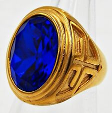 MEN RING ROYAL BLUE SAPPHIRE STAINLESS STEEL YELLOW GOLD CROSS CHRISTIAN SZ 12