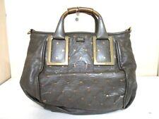 Auth Chloe Ethel DarkGray Gold Leather Handbag