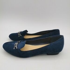 Oasis Ladies Navy Blue Faux Suede Chain Front Ballet Loafer Flats - UK 5 NEW