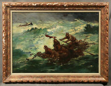 19th Century Oil Painting After Winslow Homer 1836-1910 of Men Stranded at Sea