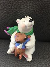 "2002 Hallmark Keepsake Ornament ""Thank You"" Hug Polar Bear & Fox- No Box"