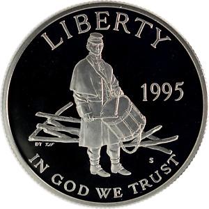 US 50c Half Dollar Commemorative 1995-S Civil War Soldier Proof Mint Capsule