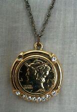 Gold Plated 1941 Mercury Dime Pendant / Necklace w/ 9 Cubic Zirconia Stones