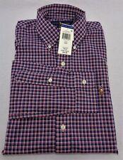 New Mens Polo Ralph Lauren SM 33/34 Long Sleeve Navy Blue 100% Cotton Poplin