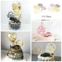 10 Stk HAPPY BIRTHDAY Cake Topper Acryl Schwarz Gold Quadrat Geburtstagsdeko