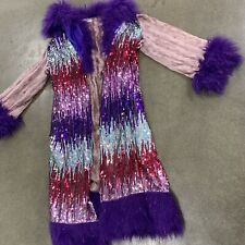 $798 Festival Couture Burning Man Playa Full Length Velour Faux Fur Sequin Coat