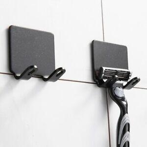 2 Pcs Punch Free Razor Holder Storage Hook Wall Men Shaving Shaver Shelf