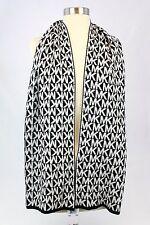 Michael Kors MK Logo Reversible Acrylic Black and White Long Scarf NWT