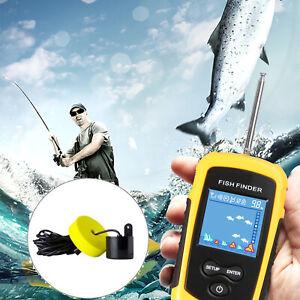Portable Fish Finder Echo Sonar Alarm Sensor Transducer Fishfinder LCD Display