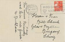 """DÄNEMARK 1928 Karavelle 15 Öre """"KOBENHAVN / OMK / KOB DANSKE VARER"""" auf Pra.-AK"""