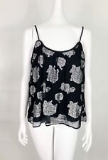 LUCKY BRAND Tank Top Women's Small Black Silver Rose Layered  NWT $139