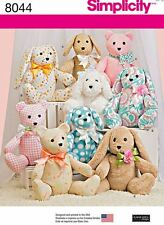 Simplicity SEWING PATTERN 8044 Toy Animals-Dog,Rabbit,Bear,2 Pattern Pieces