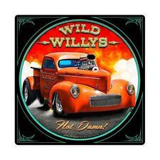 Larry Grossman Wild Willys PICK UP Hot Rod Gasser Retrò SIGN IN LAMIERA SCUDO SCUDO