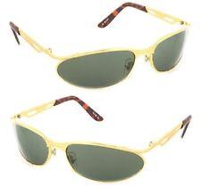 Diseño Gafas de sol Mujer Gold Metal Gafas Verde Aro Oro Con La Habana Marrón