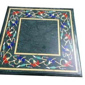 "18"" Green Marble Table Top Semi Precious Stones Inlay Art Handicraft Work"