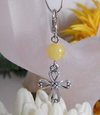 Charms Anhänger / Taschenanhänger / Schlüsselanhänger / Kreuz Perle Gelb