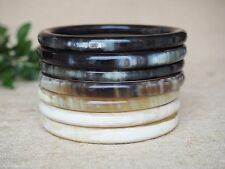 Buffalo Horn Bangles Set 7 Thick Natural Horn Material Bracelets Jewelry