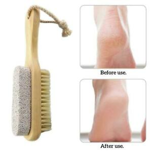 Native Wood Handle Pumice Stone Foot Cleanser Brushs Remove Feet LOT G9G1