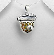 Baltic Amber honey comb Bee Beehive 925 Sterling Silver Pendant Necklace